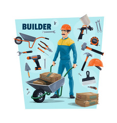 builder construction worker and tools vector image
