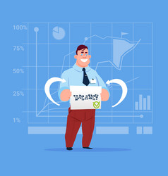 business man hired on vacancy recruitment new job vector image