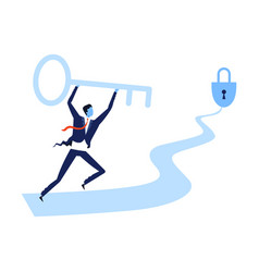 businessman running winding path with big key from vector image
