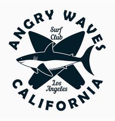 California los angeles - surfing typography vector