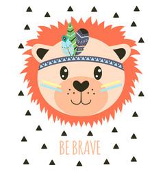card with tribal cartoon lion vector image