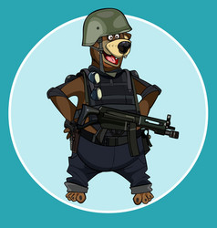 Cartoon bear standing with arms akimbo vector