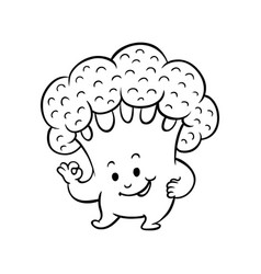 cartoon broccoli character okey gesture vector image