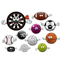 Cartoon dartboard puck and sport balls vector image