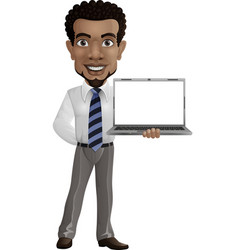 cartoon happy businessman holding a laptop vector image