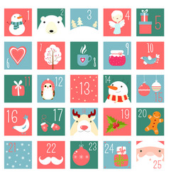 christmas advent calendar with elements in naive vector image