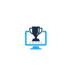 Computer trophy logo icon design vector