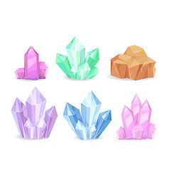 Crystals realistic precious geological minerals vector