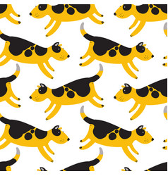 cute dogs seamless pattern background with pets vector image