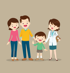 cute family visiting woman doctor vector image