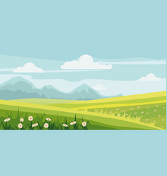 cute rural landscape tree field daisy flowers vector image