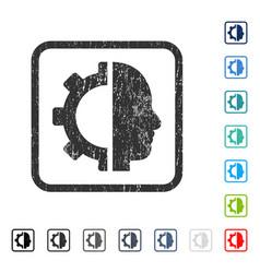 Cyborg gear icon rubber watermark vector