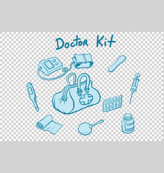 Doctor kit medical instruments and medicines vector