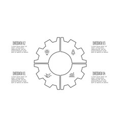 doodle gear infographic with 4 options hand drawn vector image