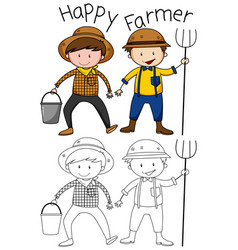 Doodle happy farmer character vector