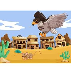 Eagle catching rat in desert vector