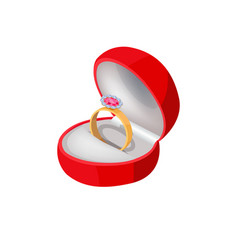 Engagement ring in red box with precious stone vector