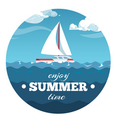 enjoy summer time postcard design sea vector image
