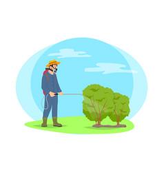 Farmer spray chemicals on plants cartoon icon vector