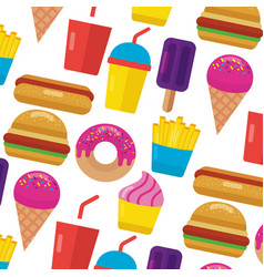fast food donut burger hot dog ice cream soda vector image