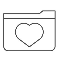 favourites thin line icon file folder with heart vector image