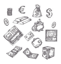 finance money set hand drawn finance vector image