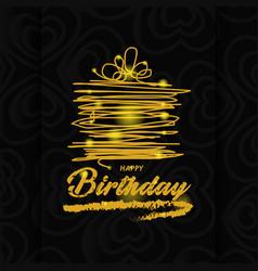 Gold happy birthday greeting card vector