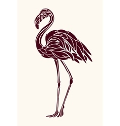 Graphic stylized drawing flamingos vector
