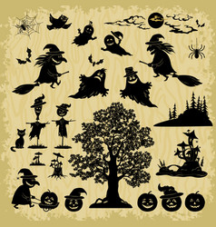 Halloween objects and subjects silhouettes vector
