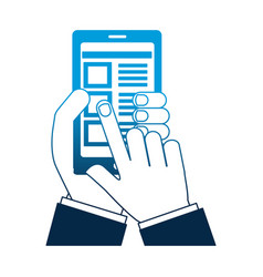 Hand smartphone document select options vector