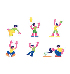 happy kids jumping and rejoice isolated on white vector image
