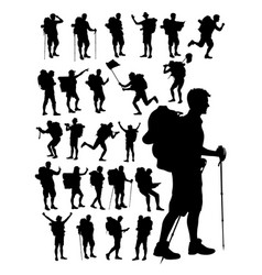 hiker silhouette detail silhouette vector image