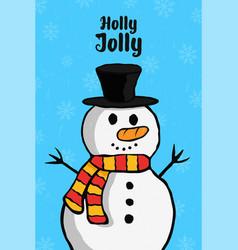 Holly jolly christmas snowman cartoon card vector