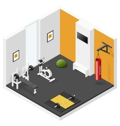 Home fitness room isometric icon set vector image