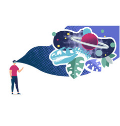 Immersion in virtual reality flat concept vector
