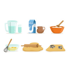 Ingredients and cookware for making dough and vector