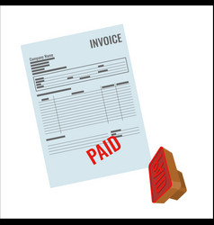 invoice bill with red paid stamp close-up vector image