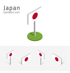 Japan flag set of 3d isometric icons vector