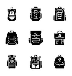 Knapsack icons set simple style vector
