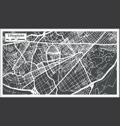 Lhospitalet spain city map in retro style outline vector