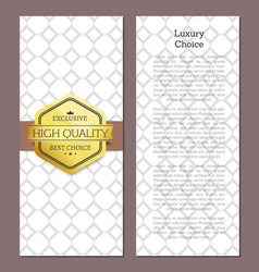 luxury choice golden offer premium quality label vector image