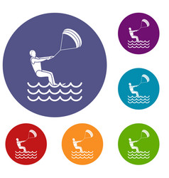 Man takes part at kitesurfing icons set vector