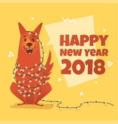 modern dog with a garland vector image