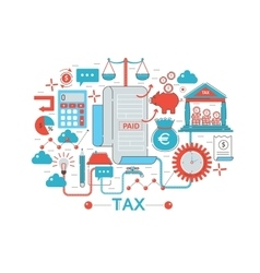 Modern Flat thin Line design Tax taxes concept for vector image