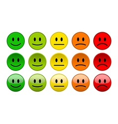 Mood level smile icons isolated vector image vector image