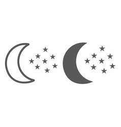 moon and stars line and glyph icon night and vector image