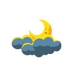 Moon Crescent Sleeping In Dark Clouds vector image