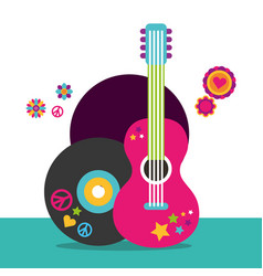 musical guitar and vinyl disc flowers hippie free vector image