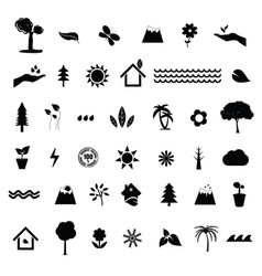nature icon in black color set vector image