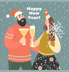 new year greeting card with cute funny couple vector image